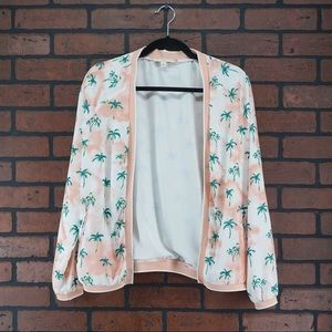 CURRENT AIR Palm Tree Bomber Jacket Size Small